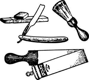 Hängeriemen, Schleifstein, Rasiermesser und Rasierpinsel