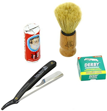 Shaving Factory SF228 Straight Rasierer in schwarz, Shaving Factory Rasierpinsel, 100 Derby Rasierklingen, Arko Rasiercreme-Stick - 1